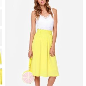 Do Or Tie Chartreuse Midi Skirt
